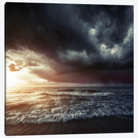 Bright Sunset Against A Wavy Sea With Stormy Clouds, Hersonissos, Crete. Canvas Print #TRK2431} by Evgeny Kuklev Canvas Print