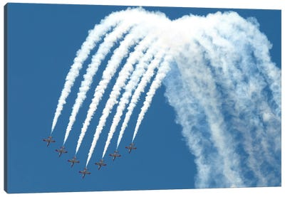 Spanish Air Force C101 Of The Patrulla Aguila Performing At The Izmir Air Show Canvas Art Print