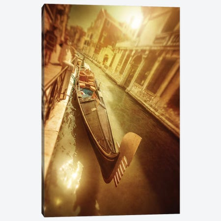 Gondola In Venetian Canal At Sunset, Venice, Italy. Canvas Print #TRK2442} by Evgeny Kuklev Canvas Wall Art