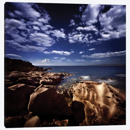 Huge Rocks On The Shore Of A Sea Against Cloudy Sky, Sardinia, Italy. Canvas Print #TRK2444} by Evgeny Kuklev Canvas Print