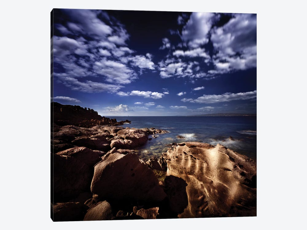 Huge Rocks On The Shore Of A Sea Against Cloudy Sky, Sardinia, Italy. by Evgeny Kuklev 1-piece Canvas Wall Art