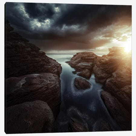 Huge Rocks On The Shore Of A Sea Against Stormy Clouds, Sardinia, Italy. Canvas Print #TRK2445} by Evgeny Kuklev Canvas Print