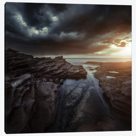 Huge Rocks On The Shore Of A Sea Against Stormy Clouds, Sardinia, Italy. 3-Piece Canvas #TRK2447} by Evgeny Kuklev Canvas Art Print