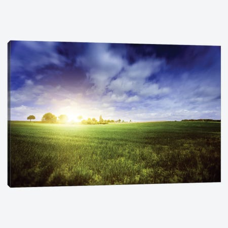 Idyllic Meadow With Sun Over Horizon Against Cloudy Sky, Denmark. Canvas Print #TRK2448} by Evgeny Kuklev Canvas Wall Art