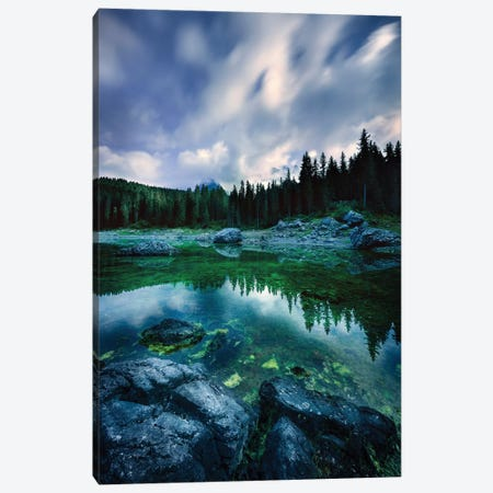 Karersee Lake And Dolomite Alps In The Morning, Northern Italy. Canvas Print #TRK2449} by Evgeny Kuklev Canvas Artwork