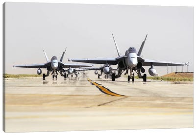 Spanish Air Force EF-18M Hornets Taxiing On The Runway Canvas Art Print
