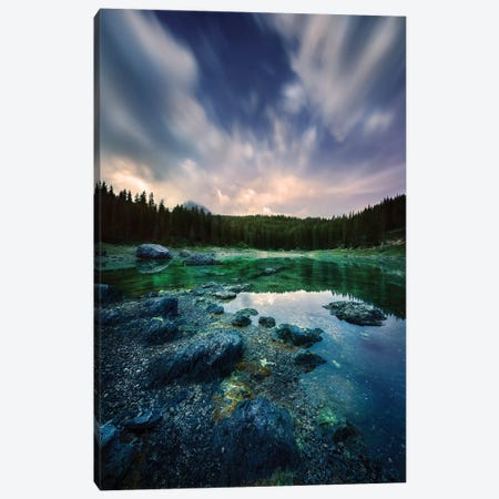 Karersee Lake And Dolomite Alps In The Morning, Northern Italy. Canvas Print #TRK2451} by Evgeny Kuklev Canvas Art Print