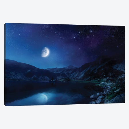 Lake And Mountains At Night Against Starry Sky, Pirin National Park, Bulgaria. Canvas Print #TRK2452} by Evgeny Kuklev Art Print