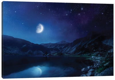 Lake And Mountains At Night Against Starry Sky, Pirin National Park, Bulgaria. Canvas Art Print