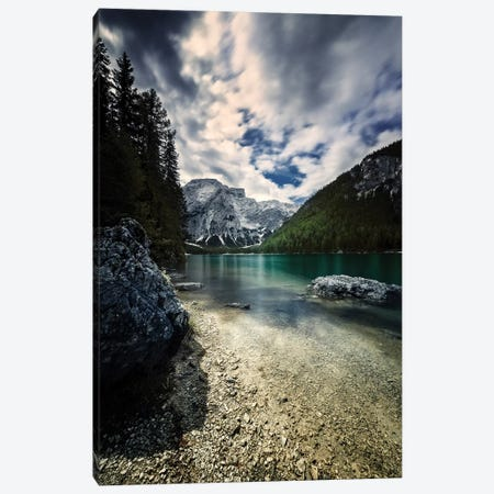 Lake Braies And Dolomite Alps Against Stormy Clouds, Northern Italy. Canvas Print #TRK2453} by Evgeny Kuklev Art Print