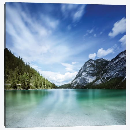 Lake Braies And Dolomite Alps, Northern Italy. Canvas Print #TRK2454} by Evgeny Kuklev Canvas Art