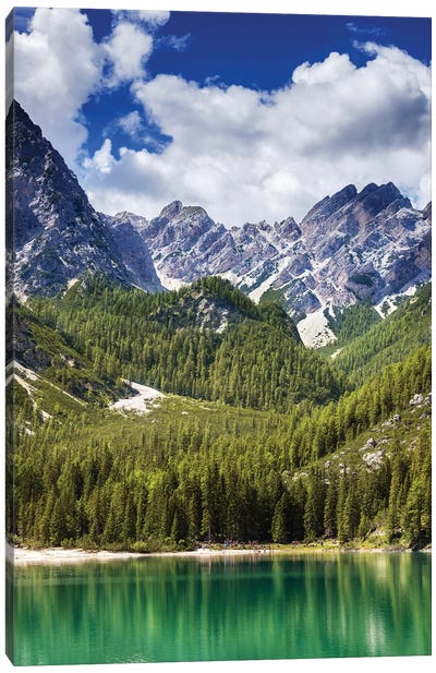 Lake Braies And Dolomite Alps, Northern Italy. Canvas Art Print