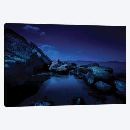Large Rocks In A Sea At Night, Burgas Region, Bulgaria. Canvas Print #TRK2458} by Evgeny Kuklev Art Print