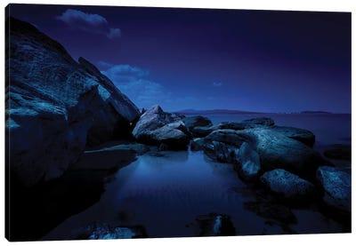 Large Rocks In A Sea At Night, Burgas Region, Bulgaria. Canvas Art Print