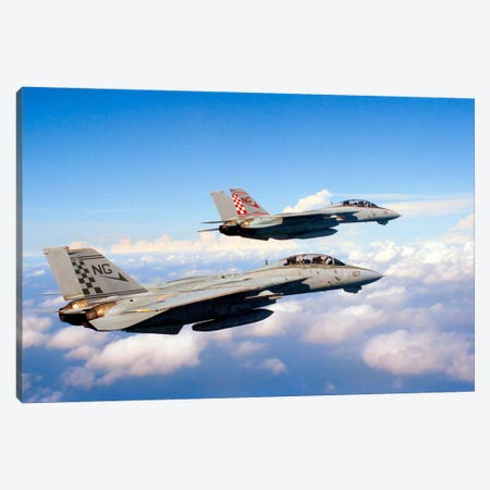 F-14A Tomcats In Flight During A Training Mission Canvas Print #TRK246} by Dave Baranek Canvas Artwork