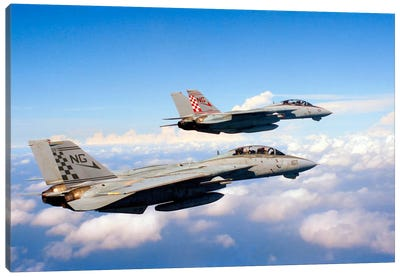 F-14A Tomcats In Flight During A Training Mission Canvas Art Print