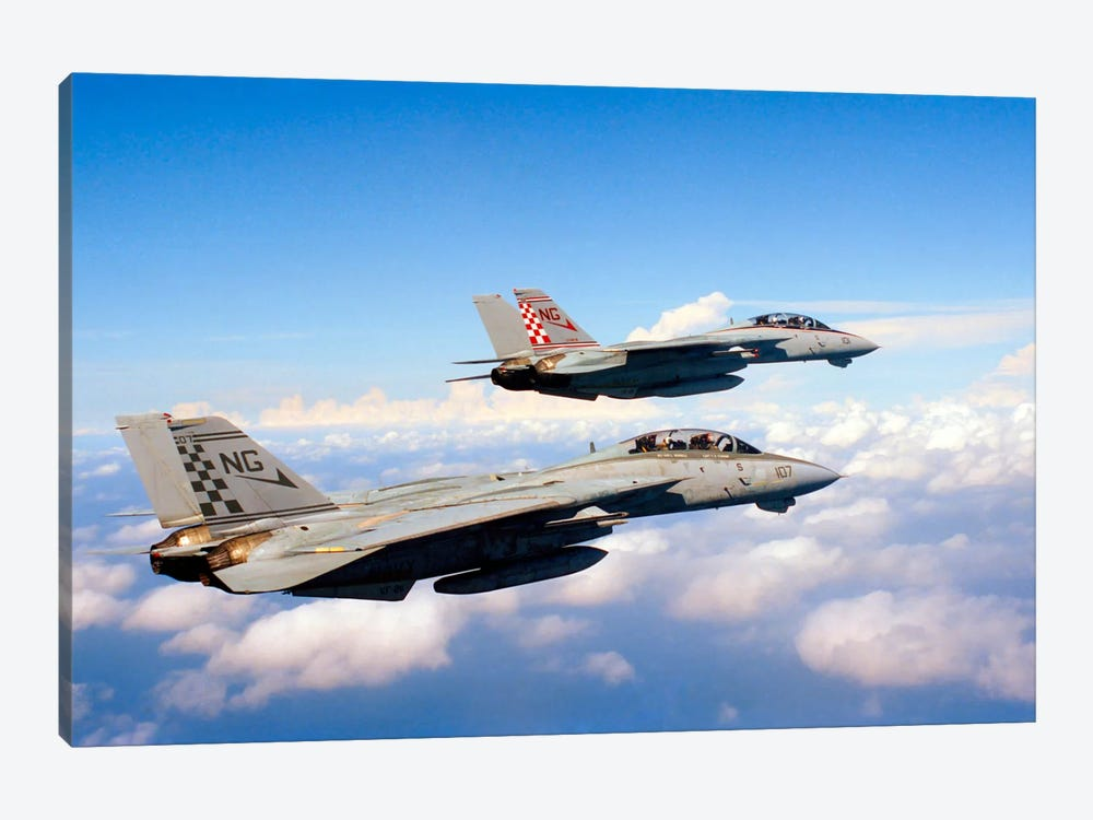 F-14A Tomcats In Flight During A Training Mission by Dave Baranek 1-piece Canvas Art