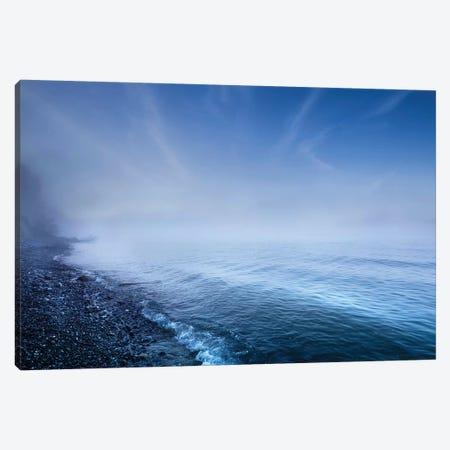 Misty Seaside In The Evening, Mons Klint Cliffs, Denmark. Canvas Print #TRK2470} by Evgeny Kuklev Art Print