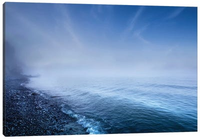 Misty Seaside In The Evening, Mons Klint Cliffs, Denmark. Canvas Art Print