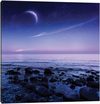 Moon Rising Over Rocky Seaside Against Starry Sky. Canvas Art Print