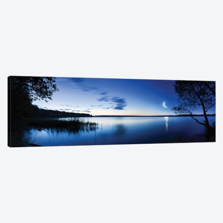 Moon Rising Over Tranquil Lake Against Moody Sky, Mozhaisk, Russia. Canvas Print #TRK2474} by Evgeny Kuklev Canvas Artwork