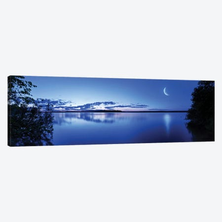 Moon Rising Over Tranquil Lake Against Moody Sky, Mozhaisk, Russia. 3-Piece Canvas #TRK2475} by Evgeny Kuklev Canvas Art