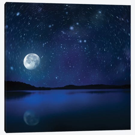 Moon Rising Over Tranquil Lake Against Starry Sky. Canvas Print #TRK2476} by Evgeny Kuklev Canvas Wall Art