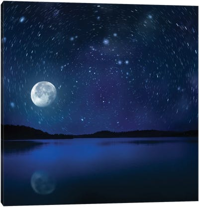 Moon Rising Over Tranquil Lake Against Starry Sky. Canvas Art Print