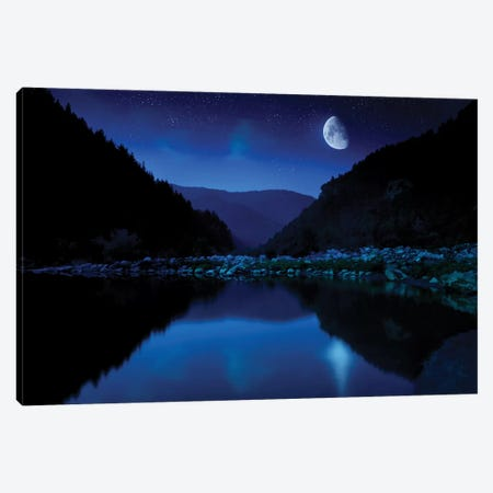 Moon Rising Over Tranquil Lake And Forest Against Starry Sky, Bulgaria. Canvas Print #TRK2477} by Evgeny Kuklev Canvas Artwork