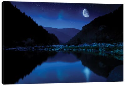 Moon Rising Over Tranquil Lake And Forest Against Starry Sky, Bulgaria. Canvas Art Print