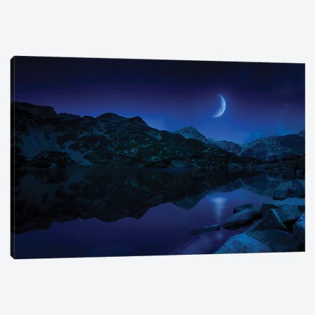 Moon Rising Over Tranquil Lake And Mountains In Pirin National Park, Bulgaria. 3-Piece Canvas #TRK2478} by Evgeny Kuklev Canvas Print