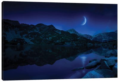 Moon Rising Over Tranquil Lake And Mountains In Pirin National Park, Bulgaria. Canvas Art Print