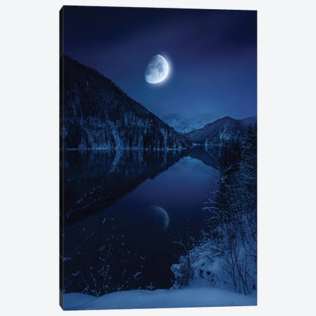 Moon Rising Over Tranquil Lake In Misty Mountains. Canvas Print #TRK2479} by Evgeny Kuklev Art Print