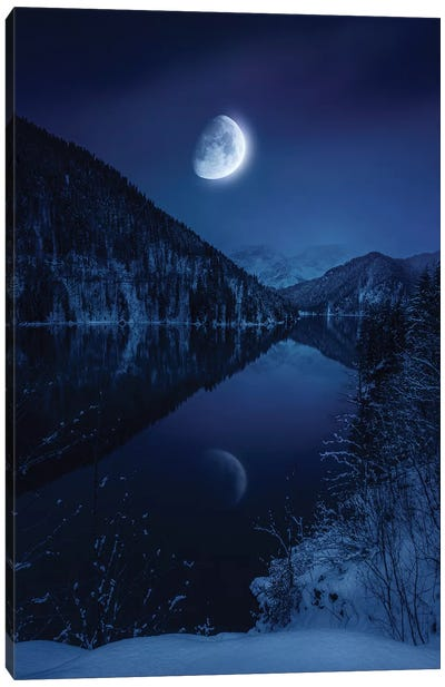 Moon Rising Over Tranquil Lake In Misty Mountains. Canvas Art Print