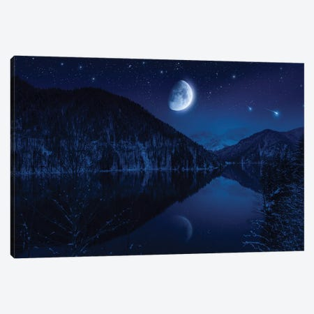 Moon Rising Over Tranquil Lake In The Misty Mountains Against Starry Sky. Canvas Print #TRK2480} by Evgeny Kuklev Canvas Art