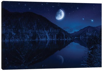 Moon Rising Over Tranquil Lake In The Misty Mountains Against Starry Sky. Canvas Art Print