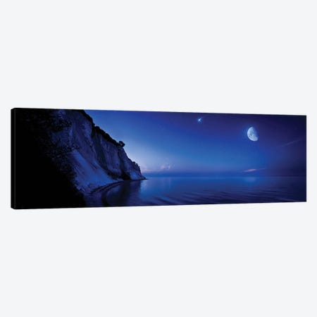 Moon Rising Over Tranquil Sea And Mons Klint Cliffs, Denmark. Canvas Print #TRK2481} by Evgeny Kuklev Canvas Artwork