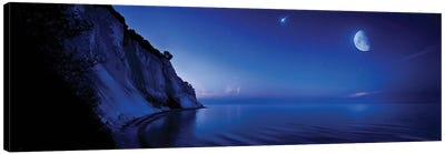 Moon Rising Over Tranquil Sea And Mons Klint Cliffs, Denmark. Canvas Art Print