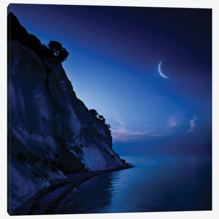 Moon Rising Over Tranquil Sea And Mons Klint Cliffs, Denmark. Canvas Print #TRK2482} by Evgeny Kuklev Canvas Wall Art