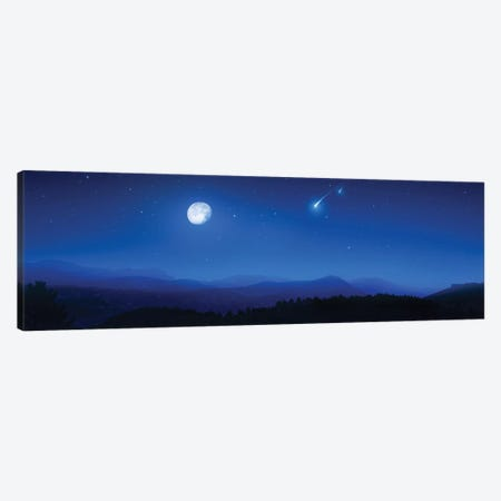 Mountain Range On A Misty Night With Moon And Starry Sky. Canvas Print #TRK2483} by Evgeny Kuklev Canvas Artwork