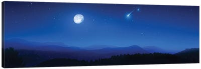 Mountain Range On A Misty Night With Moon And Starry Sky. Canvas Art Print
