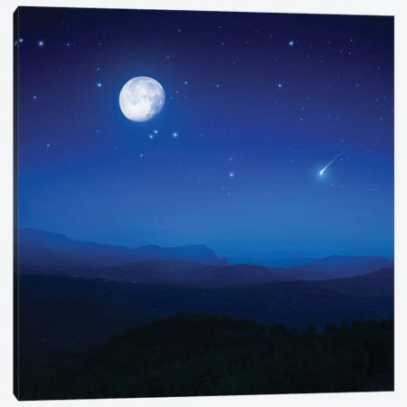 Mountain Range On A Misty Night With Moon, Starry Sky And Falling Meteorite. Canvas Print #TRK2484} by Evgeny Kuklev Canvas Print