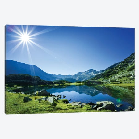 Muratov Lake Against Blue Sky And Bright Sun In Pirin National Park, Bulgaria. Canvas Print #TRK2486} by Evgeny Kuklev Canvas Art Print