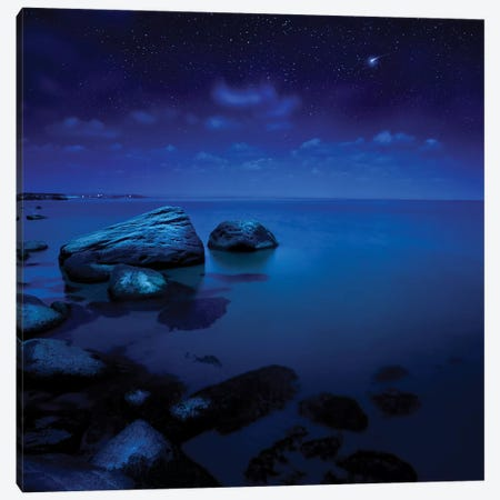 Nighttime Photo Of Sea And Starry Sky, Burgas Region, Bulgaria. Canvas Print #TRK2489} by Evgeny Kuklev Canvas Artwork