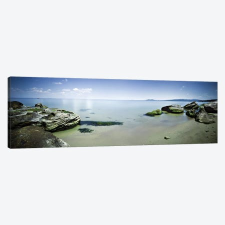 Panoramic View Of Tranquil Sea And Boulders Against Blue Sky, Burgas, Bulgaria. Canvas Print #TRK2494} by Evgeny Kuklev Canvas Art