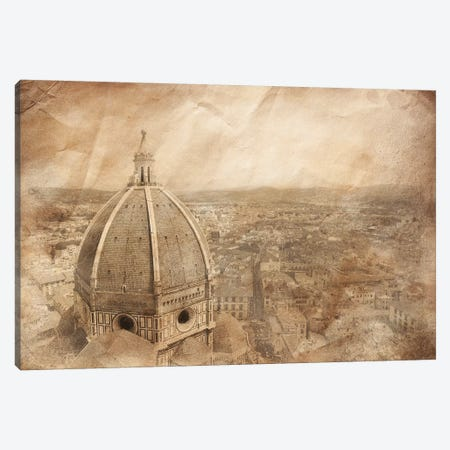 Piazza Del Duomo With Basilica Of Saint Mary Of The Flower, Florence, Italy. Canvas Print #TRK2497} by Evgeny Kuklev Canvas Wall Art