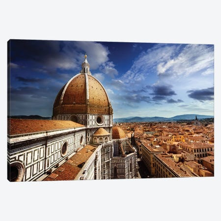 Piazza Del Duomo With Basilica Of Saint Mary Of The Flower, Florence, Italy. Canvas Print #TRK2498} by Evgeny Kuklev Canvas Art Print