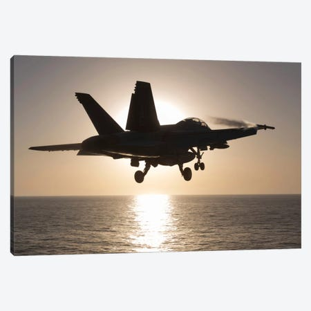 An F/A-18F Super Hornet Takes Off Into The Morning Sun Over The Arabian Sea Canvas Print #TRK250} by Gert Kromhout Canvas Art
