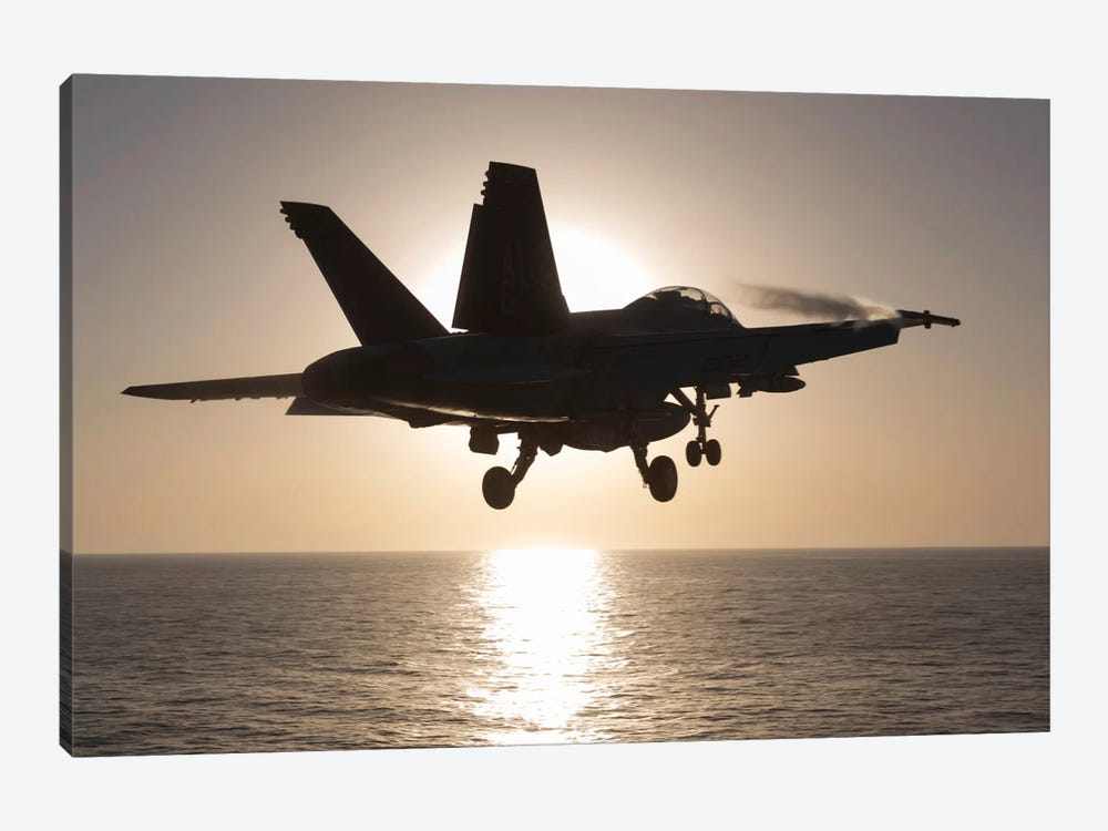 An F/A-18F Super Hornet Takes Off Into The Morning Sun Over The Arabian Sea by Gert Kromhout 1-piece Art Print