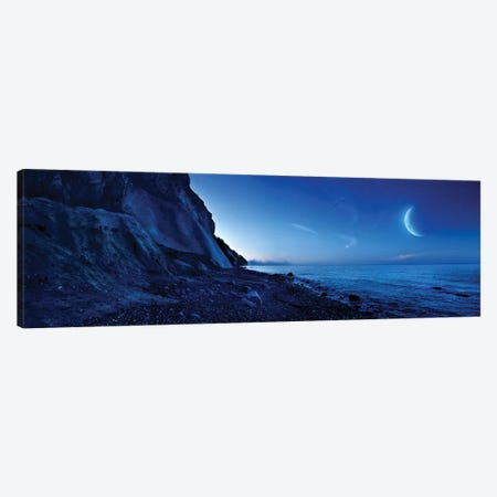Rising Moon Over Ocean And Mountains Against Starry Sky. 3-Piece Canvas #TRK2512} by Evgeny Kuklev Canvas Art